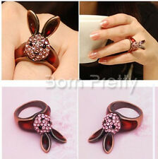 17.27mm Mignon Lapin Shaped Bague Strass Studded Ring alliage Anneau Bijoux