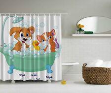 """DOG CAT RUBBER DUCKY BATH 70"""" Fabric Bathroom Shower Curtain"""