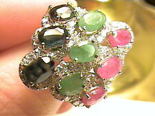SAPPHIRE EMERALD SILVER RING 7.5  ruby WHITE GOLD STERLING CLUSTER NATURAL REAL
