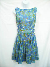 Vtg LANZ Womens Blue Green Retro Men Mad Mod Pin Up Rockabilly Dress XS 0 2