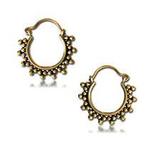 "ORNATE SMALL DOTS 18g (1MM) 1"" INCH AFGHAN TRIBAL BRASS EARRINGS HOOPS GAUGES"