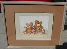 Cute Teddy Bear Picture Framed Matted 17.5 x 21.5 – Includes Artist's Signature