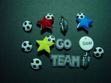 12 PIECE SOCCER BUTTONS CRAFTS SEWING SCRAPBOOKING EMBELLISHMENTS