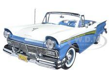 1957 FORD FAIRLANE 500 SKYLINER DRESDEN BLUE / WHITE 1/18 MODEL BY SUNSTAR 1338