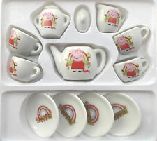 PEPPA PIG PORCELAIN TEA SET CUPS PLATES POT DRINKING 13 PIECES TOYS GAMES KIDS