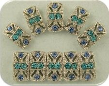 2 Hole Slider Beads #10 Marcasite Tablets Lt Sapphire & Aqua Swarovski Elements