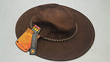 Kakadu southern Cross Kangaroo suede leather Hat brown size large (59cm) **NEW**