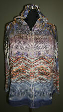 ONE WORLD PLUS SIZE MULTICOLOR W/ LACE LONG SLEEVE ZIP-UP HOODIE JACKET Sz 3X