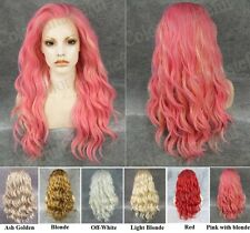 Front lace long wavy charm pink with golden synthetic cosplay fashion wig,24""