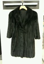 Saks Genuine Black Ranch Mink Fur & Silk Tafeta Reversible Coat Jacket sz L