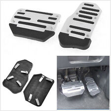 One Set Silver Aluminium Alloy + PVC Automatic Vehicle Non-slip Foot Brake Pedal