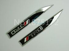 2PCS TRD SPORT METAL SIDE FENDER V EMBLEM BADGE STICKER Black  150mm