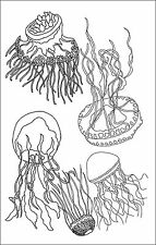"""Rug Hooking Pattern """" FIVE JELLY FISH""""  on natural linen"""