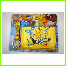 Pokemon Pikachu Children's Kids Girls Wrist Watch Wallet Set For Christmas Gift