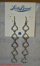 Lucky Brand Icicle Earrings Vintage Silvertone Pave Crystals Linear XMAS VDAY GI