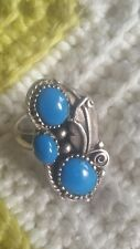 Navajo Native American Turquoise 925 Sterling Silver Ring Adjustable