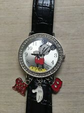 Disney Mickey mouse ladies leather band watch with 3 Charms and Rhinestones