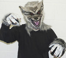 GREY WEREWOLF LATEX MASK & GLOVES, HALLOWEEN FANCY DRESS SCARY WOLF WAREWOLF DOG