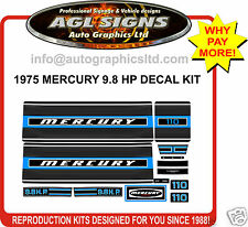 1975 MERCURY 9.8 hp OUTBOARD DECALS ,110 KIT  reproductions stickers