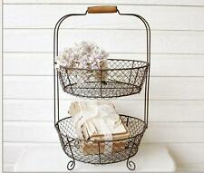 French Wire Two Tiered Standing Basket~Farmhouse Style