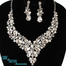 HIGH END CLEAR CHUNKY CRYSTAL & PEARL PROM WEDDING FORMAL NECKLACE JEWELRY SET