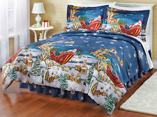Christmas Themed Santa Claus Full Size Comforter Set (4 Piece Bed In A Bag)