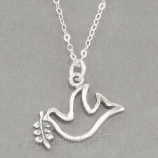 "PEACE DOVE Olive Branch Christmas Charm Pendant STERLING SILVER 18"" Necklace"