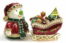 Set of 2pcs Christmas Decoration Snowman & Sleigh Trinket Box with Crystals