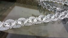 1.5cm- 1 meter Gorgeous & unique silver braid lace trimming for crafts sewing
