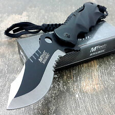 MTECH Ballistic BOWIE Black Silver Spring Assisted Opening Pocket Knife