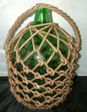 """Antique 16"""" Japanese Blown Glass Green Sake Bottle Fishing Float Buoy Net"""
