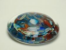 """VINTAGE 60's MURANO GLASS ABSTRACT PATTERN PSYCHEDELIC OBLATE PAPERWEIGHT ~4.75"""""""