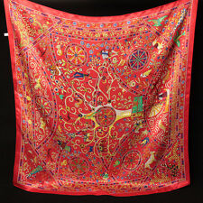 "35"" Square 100% Silk satin Scarf Women Neck Shawl Wrap Large red blue 203-050"