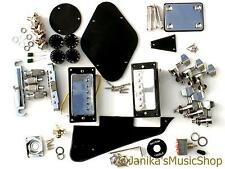 DIY ELECTRIC GUITAR KIT BRIDGE PICKUPS MACHINES BLACK PLASTICS POTS KNOBS LP