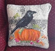 Hand Painted Raven Pumpkin Bird Fall Decorative Pillow Original Art Made USA 16""