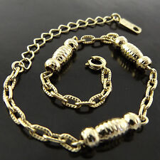 A608 GENUINE REAL 18K YELLOW G/F GOLD SOLID LADIES RETRO DESIGN BRACELET ANKLET
