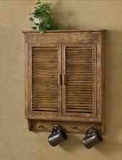 PRIMITIVE DISTRESSED WOOD SHUTTER CABINET With 4 PEG HANGERS BY PARK DESIGNS