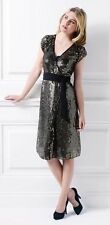 Brand New HOLLY WILLOUGHBY Dress Size 6/XS/34 Black-Gold Sequins With Tags