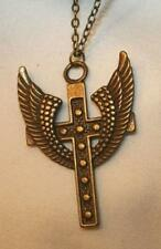 Handsome Metal Beaded Brasstone Raised Wings of Triumph Cross Pendant Necklace