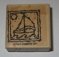 Sailboat Sun Rubber Stamp Water Stampin' Up! Retired Frame Sailing Boats Boys