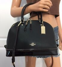NWT COACH BLACK SIGNATURE PEBBLED PATENT LEATHER CROSSBODY SATCHEL BAG PURSE