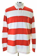 Polo Ralph Lauren Mens Rugby Polo Shirt XL Red Stripes Cotton Custom Fit