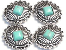 4 - 2 HOLE SLIDER BEADS WESTERN CONCHO STYLE, DIAMOND SHAPED IMITATION TURQUOISE