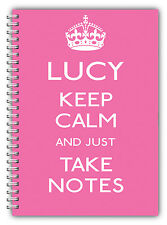 A5 PERSONALISED NOTEBOOK/KEEP CALM & TAKE NOTES/LINED PAPER/PINK