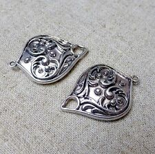 Antique Silver Pendant or Earring Connector  - pack of 10