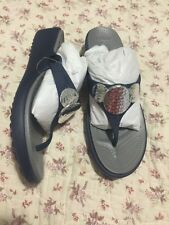 Crocs Sanrah Embellished Wedge Shoes Womens Size 7 Navy Silver