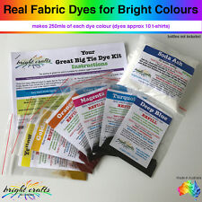 Your Great Big Tie Dye Kit REFILL 6 colours real fabric dyes for bright colours
