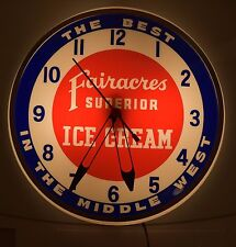 Fairacres Superior Ice Cream Dualite Vintage Advertising Clock Lighted