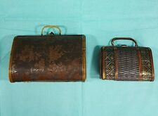 Pair of VINTAGE UNIQUE WOODEN BOX PURSE /CLUTCH HANDBAG-  FLOWER STAMP