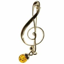 BALTIC AMBER STERLING SILVER 925 MUSIC CLEF BROOCH PIN JEWELLERY JEWELRY GIFT